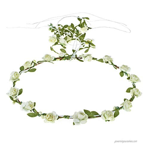 Accesyes Floral Headband Women Hair Wreath Flower Girls Crown Baby Show Party Supply (Ivory)