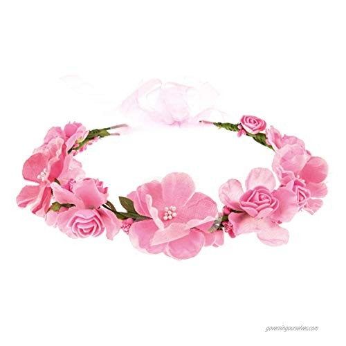 Accesyes Rose Flower Headband Leaf Berry Hair Wreath Party Festival Wedding Photography Floral Crown (Pink)