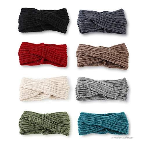 Adramata 8 PCS Crochet Turban Headbands for Women Winter Warm Beanie Braided Knitted Headwraps Ear Warmer Headband