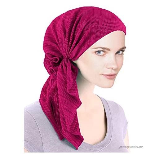 Bella Scarf Plisse Chemo Hat Turban Head Scarves Pre-Tied Headwear Bandana Tichel for Cancer