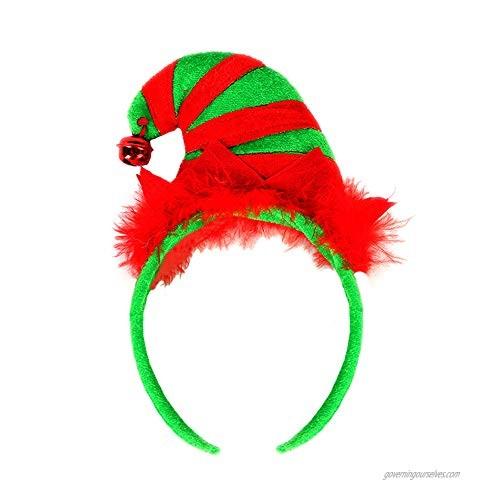 Christmas Elf Hat Headband Elf Bell Hair Hoop Xmas Halloween Headpiece Women Hairband Hair Band Elves Party Decoration Cosplay Costume Cute Handmade Holiday Hair Accessories Red Green