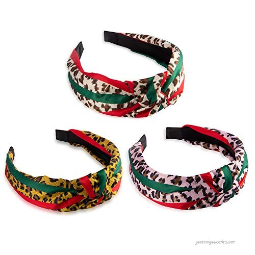 Designer Leopard Headband for Women - Red Green Twist Cross Knot Hair Hoops - Fashion Fabric Design Plastic Wide Hard Headbands for Women  Girls  Party  Christmas - 3 PCS of Pack (Stylish)