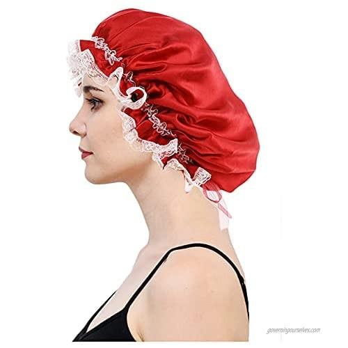 DREYOLIFE Silk Sleep Cap for Women Traceless Elastic 100 Real Mulberry Silk Lace Edge Sleeping Cap
