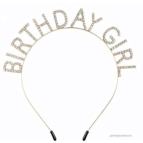 Elehere Rhinestone Birthday Girl Tiara Crown Headband Headpiece Sparkly Gold Party Hair Accessory