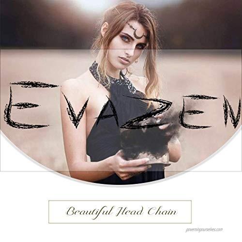 Evazen Boho Crystal Head Chain Vintage Headpieces Black Hair Accessories Fashion Head Chain for Women and Girls