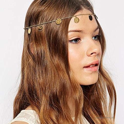 Evazen Boho Head Chain Gold Coin Headpieces Hair Accessories for Women and Girls