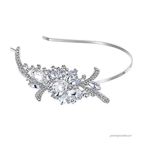EVER FAITH Bridal Flower Bouquet Hair Headband Austrian Crystal Crown