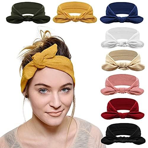 Headbands for Women Criss Cross Vintage Head Wrap Boho Headband Elastic Hair Accessories 8 Pack