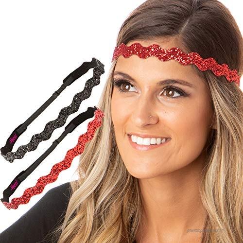 Hipsy Adjustable Non Slip Wave Bling Glitter Headbands for Women Girls & Teens 2-Pack (Black & Red)