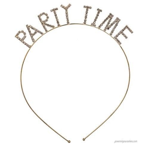 Lux Accessories Goldtone Rhinestone Party Time Verbiage Party Headband