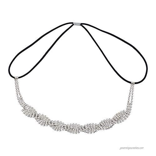 Lux Accessories Silver Wedding Event Elastic Full Crystal Rhinestone Bridal Hair Headdress