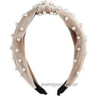 Lux Accessories White Pearls Criss Cross Fabric Head Wrap Fashion Headband