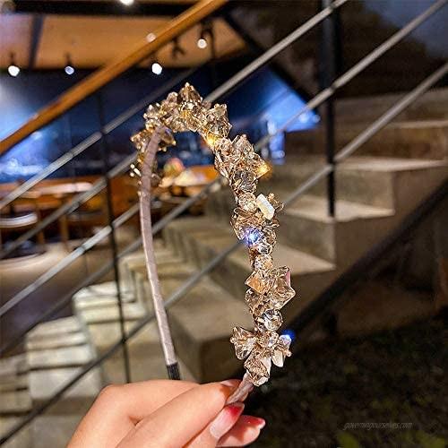 RANRAN Women Rhinestone Hair Hoop Crystal Headband Elegant Bride Hairband Banquet Headdress(Blue)