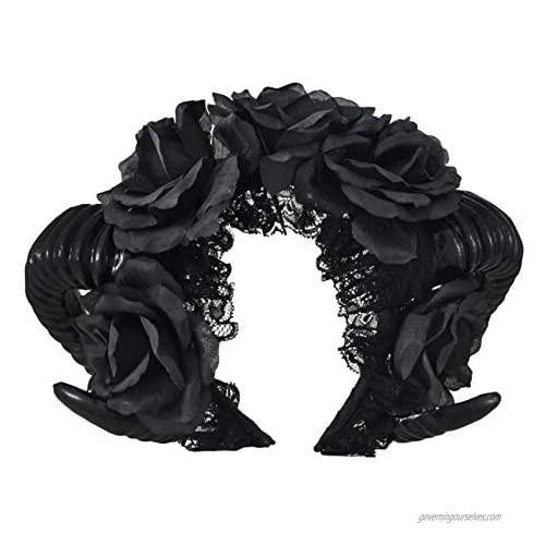 Ro Rox Gothic Ram Horns Sinister Evil Headband Roses Garland Satanic Headpiece