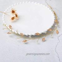 Yalice Bride Leaf Wedding Hair Vine Beaded Bridal Headband Hair Accessories Headpiece for Women and Girls