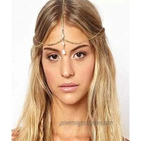 YBSHIN Boho Gold Hair Chains Opal Headpieces Beaded Head Chains Layered Hair Jewelry for Women and Girls