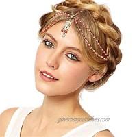 Yizaca Boho Crystal Head Chain Red Rhinestone Pendant Hair Chain Beaded Headpieces Tassel Headband Jewelry for Women and Girls