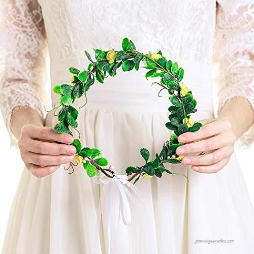 Zoestar Leaf Flower Crown Wedding Green Leaves Headband Bridal Floral Leaf Headpiece for Women (Yellow)