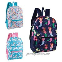 24 Pack - 15 Inch Printed Bulk Backpacks in 3 Assorted Styles - Case of Wholesale Bookbags (Assorted 2)