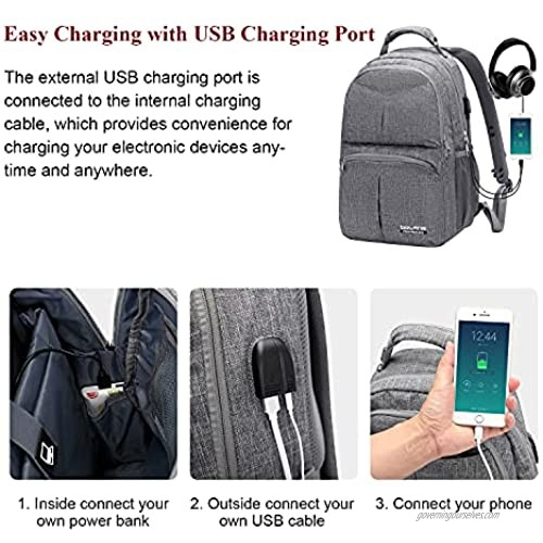 BOLANG Laptop Backpack for Men Women With USB Charging Port Business Work Travel Backpack Water Resistant College School Bookbag Fits 17 Inch Computer (8459 Grey )