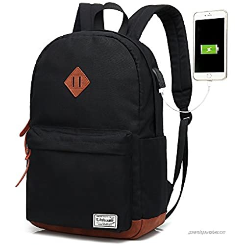 Classic College Backpack  Water-resistent Laptop Backpack with USB Charging Port & Headphone Adapter for Men & Women Slim Anti-Theft Travel Bookbags Fits up to 14'' Computer 15'' Macbook - Black