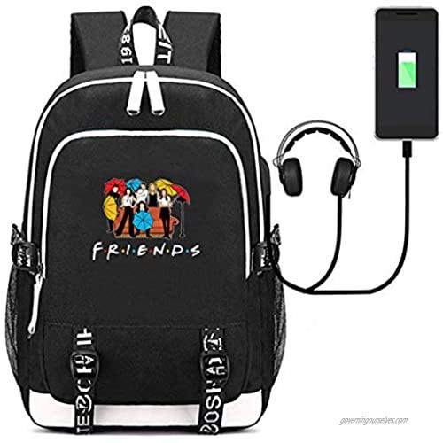 Fashion Friend Backpack TV Show Merchandise USB Charging Daypack Outdoor Travel Shoulders Bag Laptop Sport Backpacks Bookbag (Black 1)