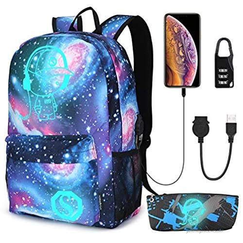 Pawsky Galaxy Backpack for School  Anime Luminous Backpack College Bookbag Anti-Theft Laptop Backpack with USB Charging Port