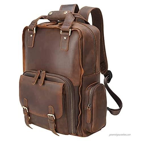 Polare Large Vintage Full Grain Italian Leather Backpack 15.6 Inch Laptop Bag Hiking Travel Rucksack for Men with Premium YKK Zippers