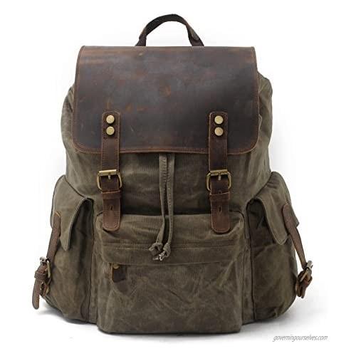 """SUVOM Vintage Canvas Genuine Leather Laptop Backpack for Men School Bag 15.6"""" Water Resistant Travel Rucksack"""