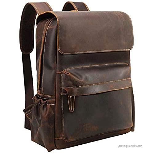 TIDING 15.6 Inch Vintage Men's Full Grain Leather Laptop Backpack Large Capacity Travel Bag Bookbag with YKK Zipper