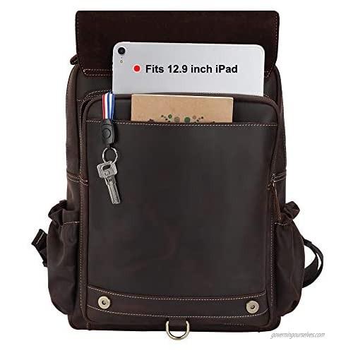TIDING Men's Leather Backpack 15.6 Inch Laptop Bag Business Travel Shoulder Daypack