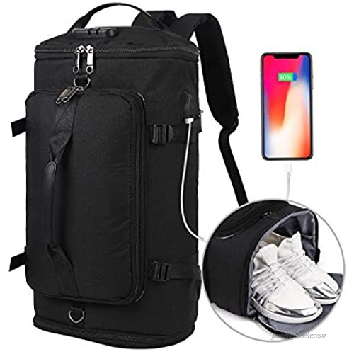 Travel Backpack  Outdoor Duffle Bag with Shoe Compartment  Waterproof Hiking Camping Rucksack for Men and Women. Anti Theft College Backpack/Book-Bag with USB Charging