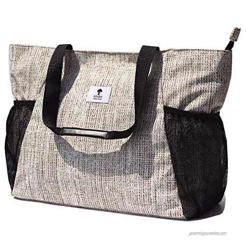 ESVAN Weekender Bag Carry On Bag Overnight Tote Travel Duffle with Trolley Sleeve for Travel Gym Beach Teacher Nurse