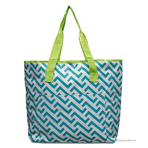EXULTIMATE Reusable Waterproof Beach Tote with Zipper and Front Pocket For Beach  Travel  and Shopping