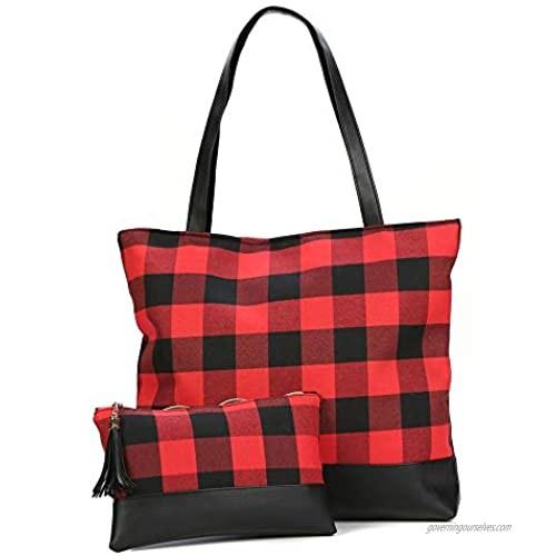 Fashlanlika Womens Red Buffalo Plaid Tote Bag Buffalo Check Everyday Lightweight Tote