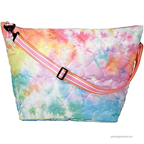 """iscream Cotton Candy Hearts Puffy Quilted 23.5"""" Weekender Travel Tote Bag with Adjustable Strap"""