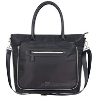"""Kenneth Cole Reaction Women's Silky Polyester Top Zip Anti-Theft RFID Expandable 15"""" Laptop & Tablet Business Tote  Black"""