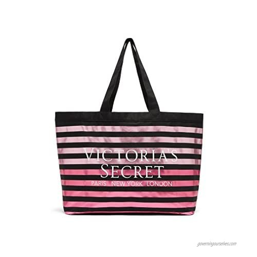 Victorias Secret Metallic Striped Canvas Tote Black & Pink