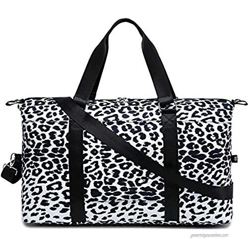 Weekender Bag Ladies Women Canvas Travel Duffel Tote Carry On Shoulder Overnight Bag (Y6015 White Leopard)