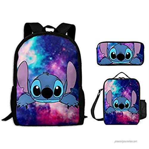 cartoon Backpack 3 Pieces Set ,With Lunch Bag and Pencil Case For kids on school
