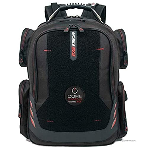 Core Gaming Laptop Backpack From Mobile Edge Core Gaming  17.3 Inch  External USB 3.0 Quick-Charge Port w/Built-in Charging Cable  Patch Panel - Black w/Red Trim - MECGBPV1