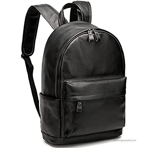 """CPJ Genuine Leather Backpack Fits 15.6"""" Laptop Casual Daypack Schoolbag for Boys & Girls"""
