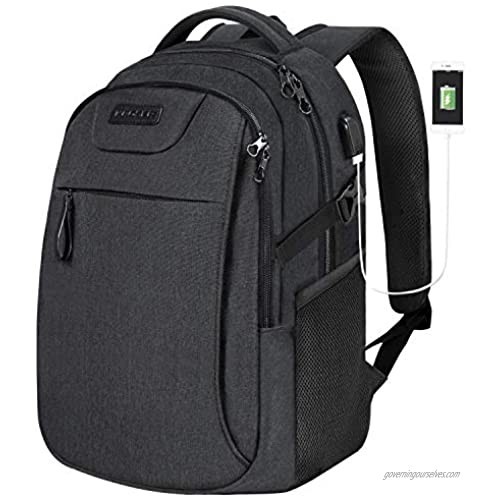 KROSER Laptop Backpack for 15.6 Inch Travel Business Computer Backpack with USB Charging Port Water-Repellent College School Casual Daypack for Men/Women-Charcoal Black