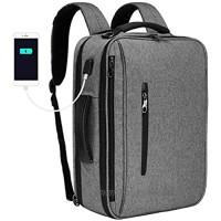 SLOTRA Convertible Backpack 15.6 Laptop Bag 3 in 1 Carry On Backpack Briefcase Messenger Shoulder Bag With Removable Strap Grey