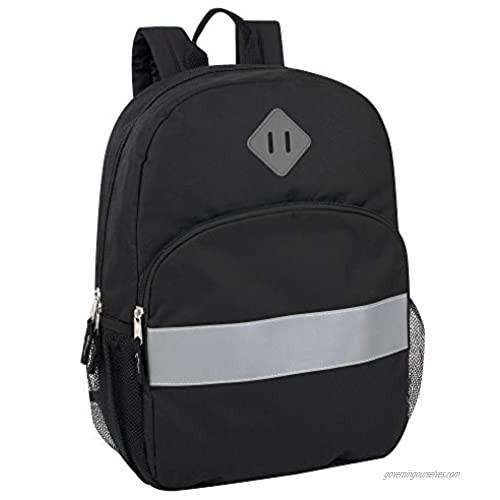 Solid Color Backpack for School - Backpack with Reflector Strip  Side Pockets  Padded Straps (Black)