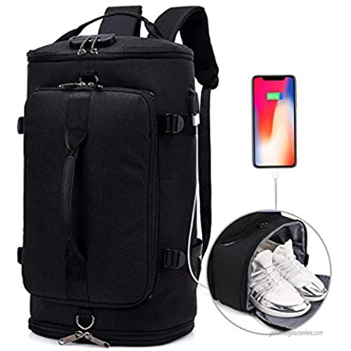 Travel Backpack Duffel Outdoor Backpack with Shoe Compartment Anti Theft College Laptop Bookbag w/USB Charging Weekender Bag Water Proof Hiking Camping Rucksack for Men and Women