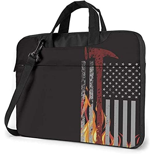 American Firefighter Red Ax Thin Flag Patten Computer Carrying Briefcase for 15.6 Inch Shockproof Crossbody Bag Briefcase