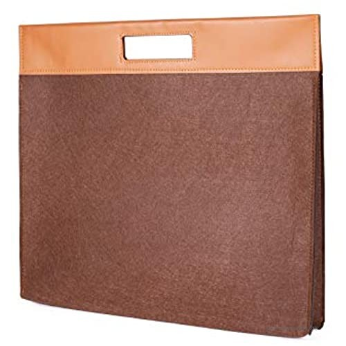 HIFUMI Felt Laptop Bag for Men Women  15.6 Inch  Laptop Sleeve Case with Leather Handle  Tote Bag with Zipper (15.6 Inch  Chocolate Brown)