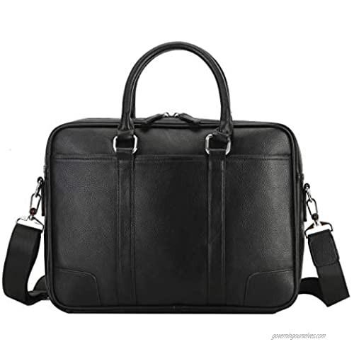 Leathario Men Briefcase Genuine Leather Handbag Laptop Bag 10.5 Inch for Mens Business Luxurious Leather Messenger Shoulder Bag Office Travel Weekend