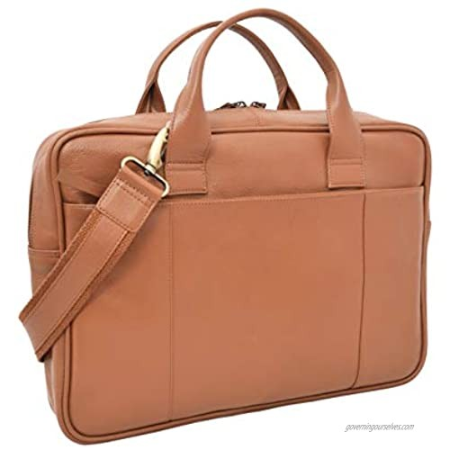 Men's Slim Leather Briefcase with Laptop Sleeve 15L x11Hx 2.5W inches Tan V-élan
